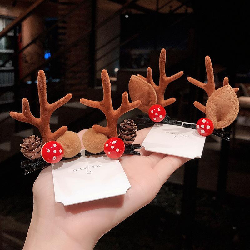 Hair Accessories Fashion Christmas Deer Corner Leaf Pine Cone Mink Ball Hairpin Children Holiday Party Dress Duckbill For Women