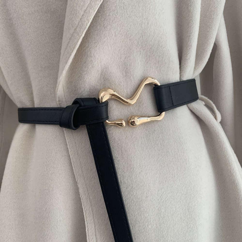 mode pour les femmes avec costume manteau décoration de nœud de femme de la ceinture de ceinture noire mince