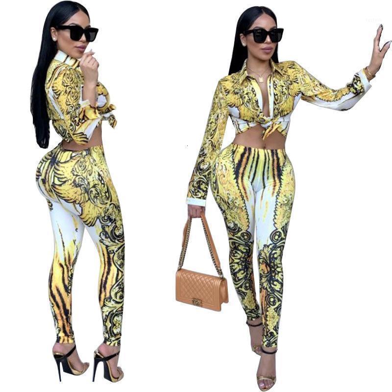 Afrika kadın seksi papyon ön 2 takım elbise tulum dijital baskı oyulmuş mahsul üst ve pantolon tayt kadın marcaso1
