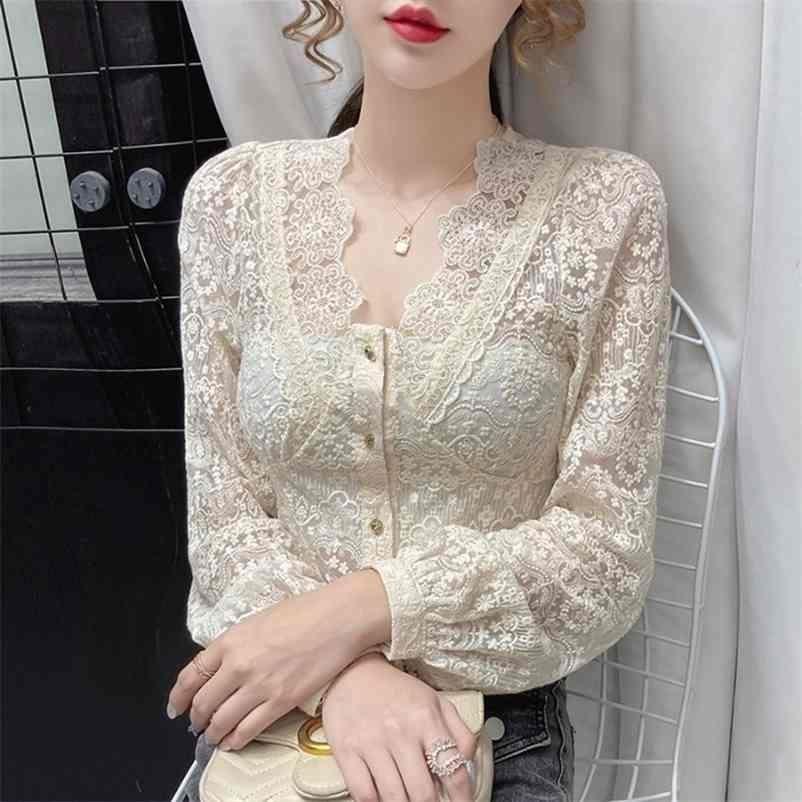 Sonbahar Seksi V Yaka Dantel Patchwork Bluz Kadınlar Için Oymak Uzun Kollu Şifon Gömlek Kadın Bej Kısa Yeni Blusas Tops 210323