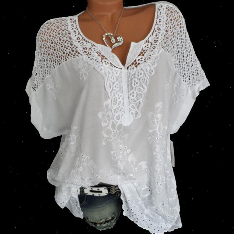 Summer Short Sleeve And Loose Womens Shirts White Lace Patchwork Plus Size 4xl 5xl Women Tops Casual Clothes