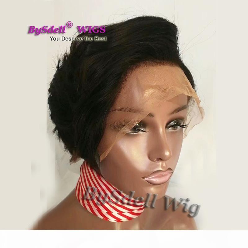 Cabelo virgem brasileiro Bob Corte de Glueless Lace Human Human Wigs para mulheres negras
