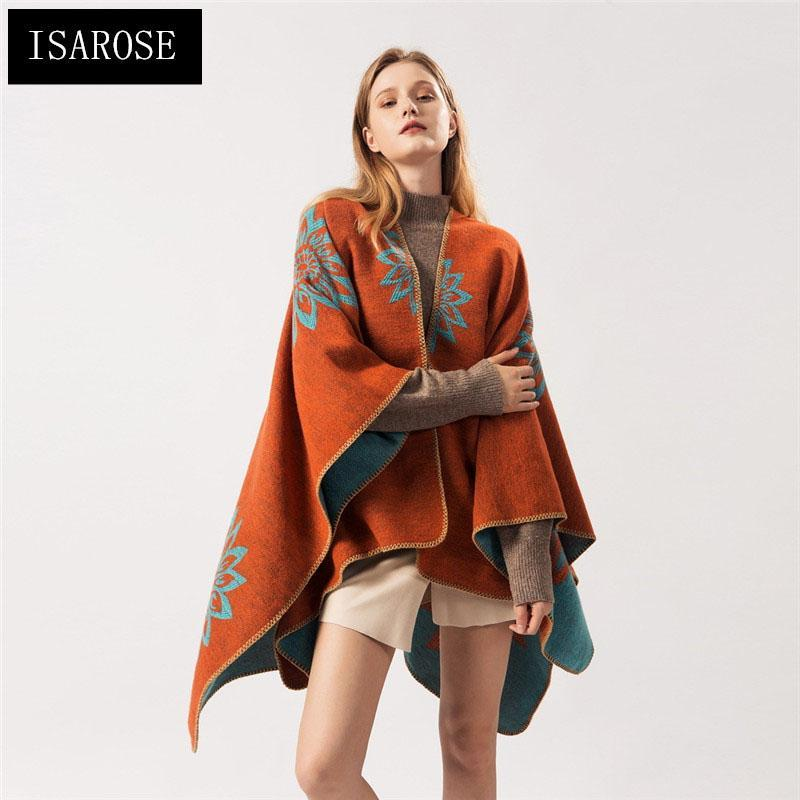 Шарфы исарозная вышивка ромашка плащ двойной сторона теплые кашемировые кардиганские накидки большой размер обернуть шаль зима носить одеяло женщин подарок