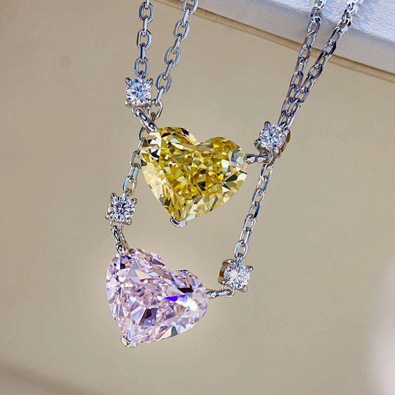 Charm Heart Cut Topaz Diamond Beadant Свадебные подвески Ожерелье для женщин Свадебные ювелирные изделия