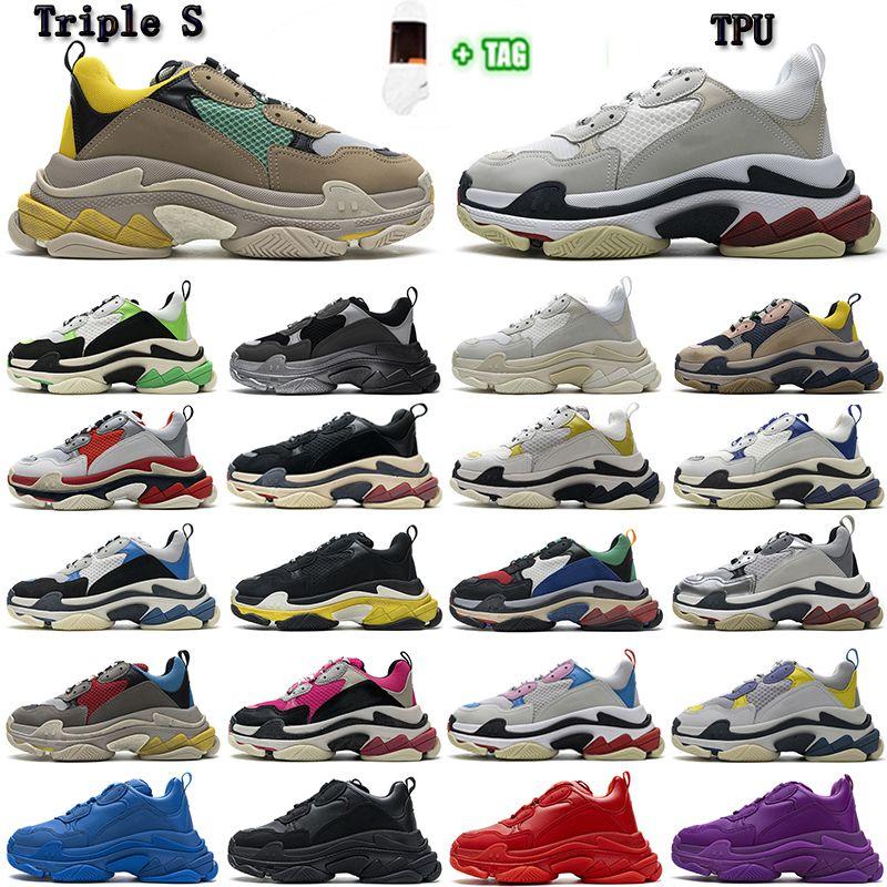 Balenciaga Triples cushion old shoes [En stock] Triple S 17FW Moda Hombres Mujeres Papá Zapatos Tripler Sneaker Platform Plataforma Suela Retro Scarpe Para Hombre Zapatillas 36-45