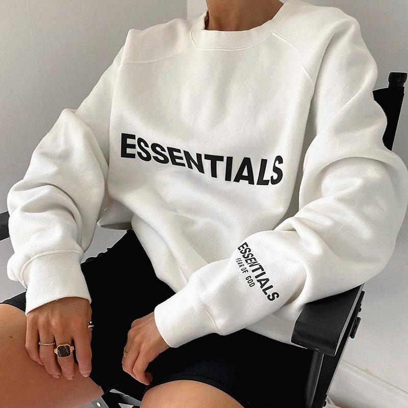 Sudaderas con capucha para mujer Sudaderas Wens Niebla Doble hilo Essentials Temporada 7 Letra Presionada Pullover Hombres y suéter sueltos