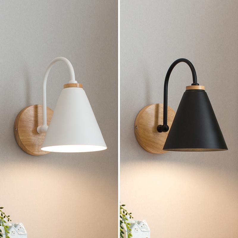 Hölzerne Wandleuchten Nachttischlampe Schlafzimmer Licht sconce für Küchenrestaurant Moderne nordische Makronen Sconces WJ916