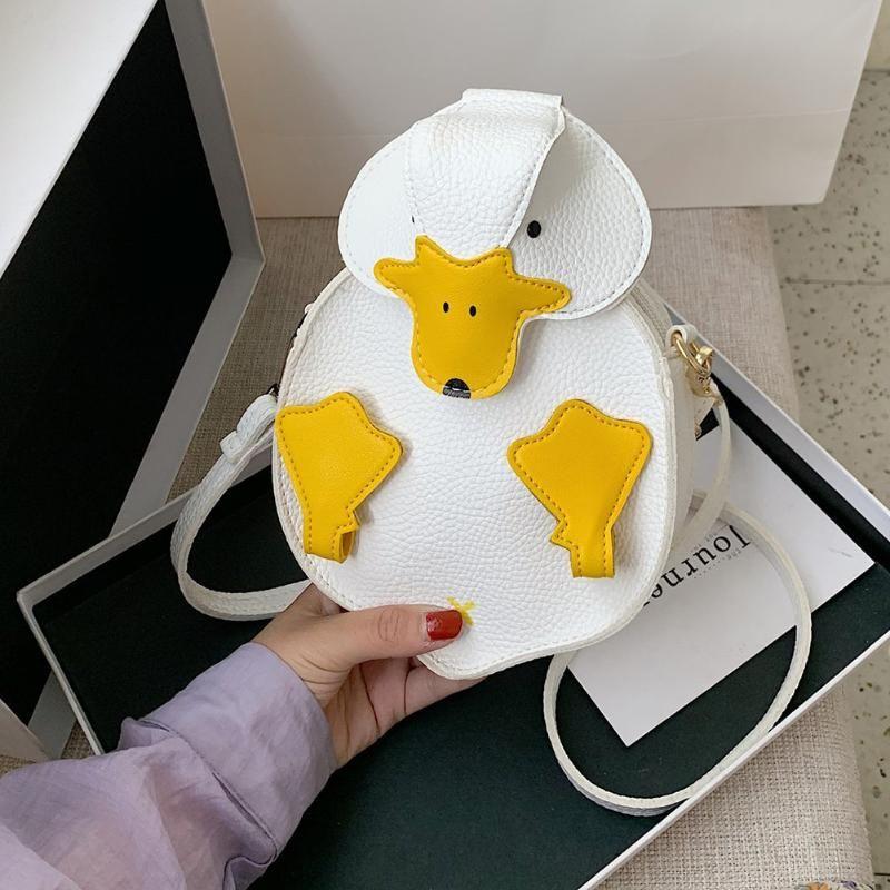 Été mignon de canard forme patchwork puce d'épaule en cuir bandoulière messager sac décontracté dames dessin animé petits sacs à main