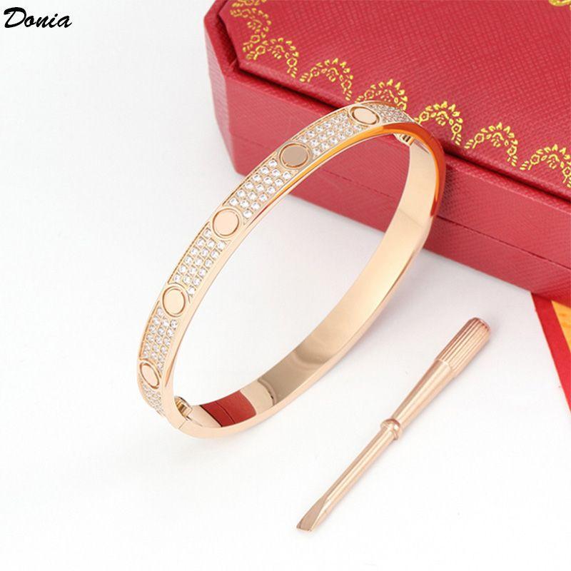 Chave de fenda de jóias de Donia Exagerated Zircon Micro-embutido Zircão Europeu e americano Moda Titanium Steel Designer Bracelet