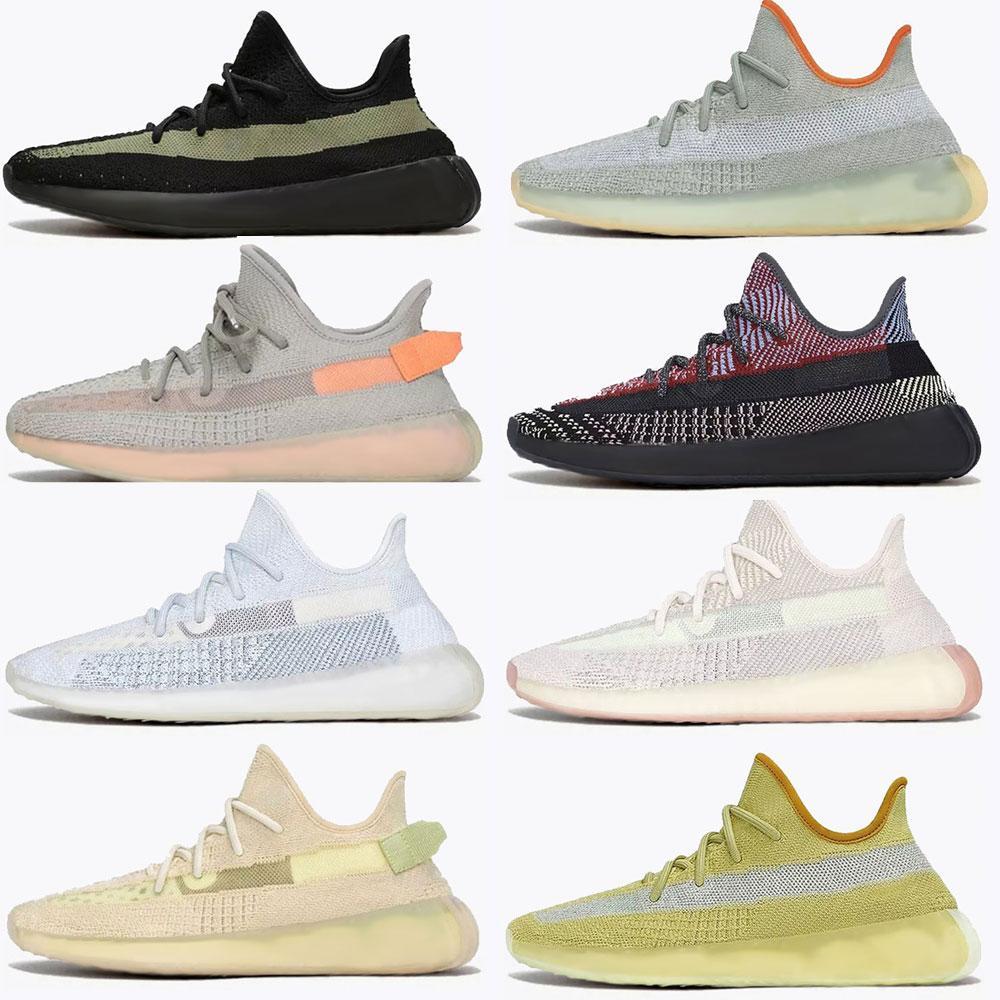 2021  Adidas Yeezy Boost 350 V2 shoes Dalga Koşucu Kanye West V2 Koşu Ayakkabıları Yecher Kül Taş Kil Toprak Çöl Ada Sage Karbon Kilit Kadın Erkek Spor Sneakers 36-478502 #