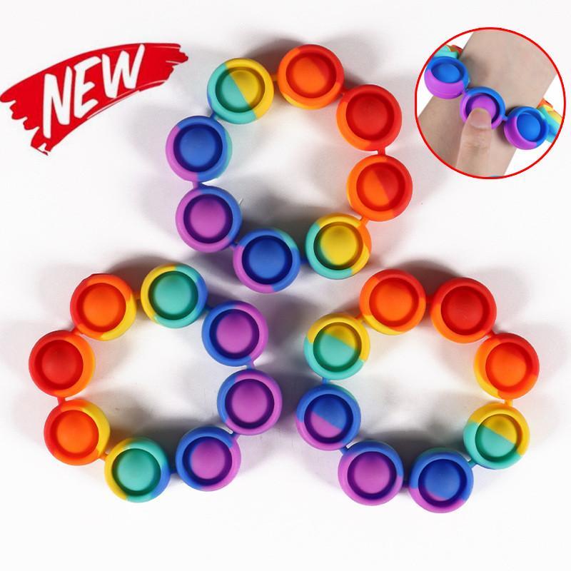Fidget Re-liver Stress Toys Push It Rainbow Bracelet Bubble Anti stress Toys Adult Children Sensory Toy To Relieve Autism 2021 FY2759