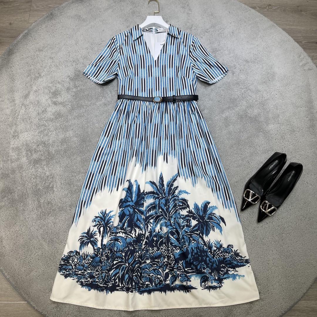 Milan pist elbiseler 2021 yaz v boyun kısa kollu baskı panelli kadın tasarımcı elbise markası aynı stil etek 0319-5