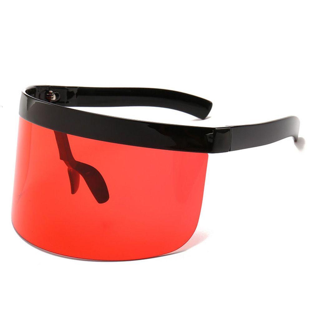 Oversized Sunglasses Women 2021 Mirrored Mask Shape Shield Style Men Women Windproof One Large Rimless Lens Sun Glasses