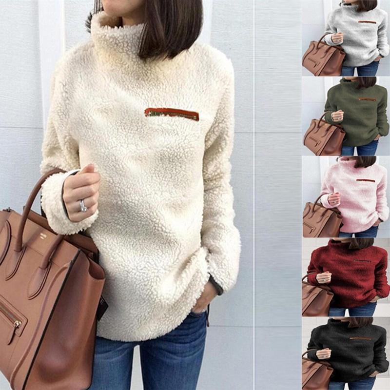Европейская и американская женская мода на молнии нижний воротник повседневная топ 2021 осень новый свитер женщины