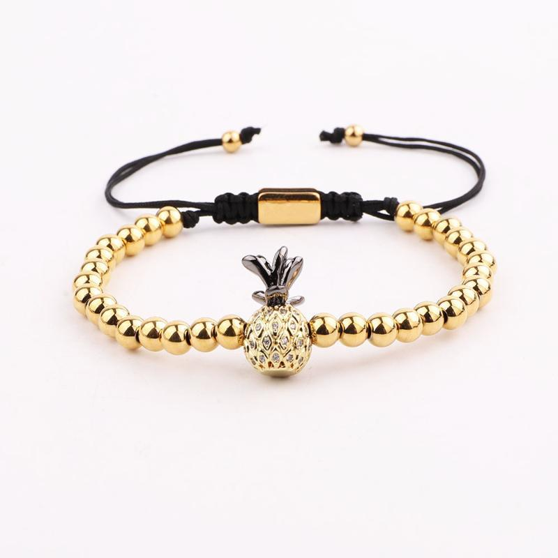 Diseño lindo Beads de acero inoxidable CZ Piña Charm Macrame Pulsera Mujer con cuentas, hebras