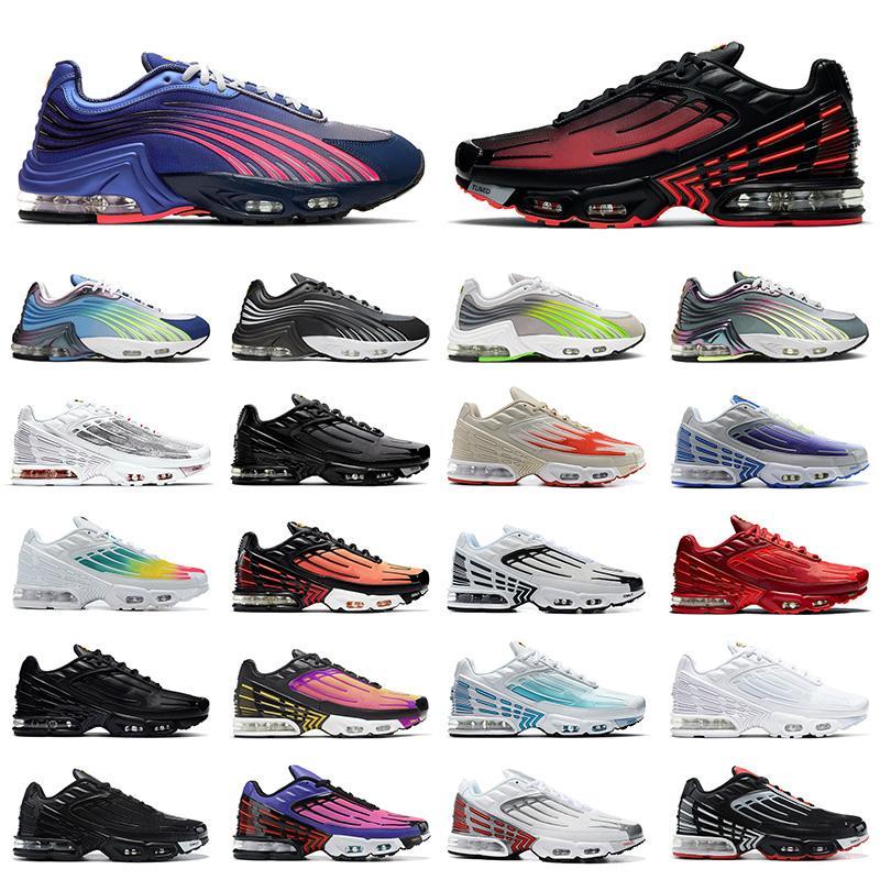 أحذية air max tn 3 airmax plus 2 tuned حار بيع الكلاسيكية رجل إمرأة الاحذية tn 3 ثلاثية أسود أبيض  ليزر أزرق رمادي الرجال أحذية رياضية الركض المدربين