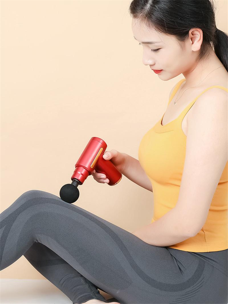 20pcs Portable 6 Gear 4 Head Mini USB Full Body Massager Electric Fascia Massage Gun Deep Muscle Relaxing Pain Relief Stimulator