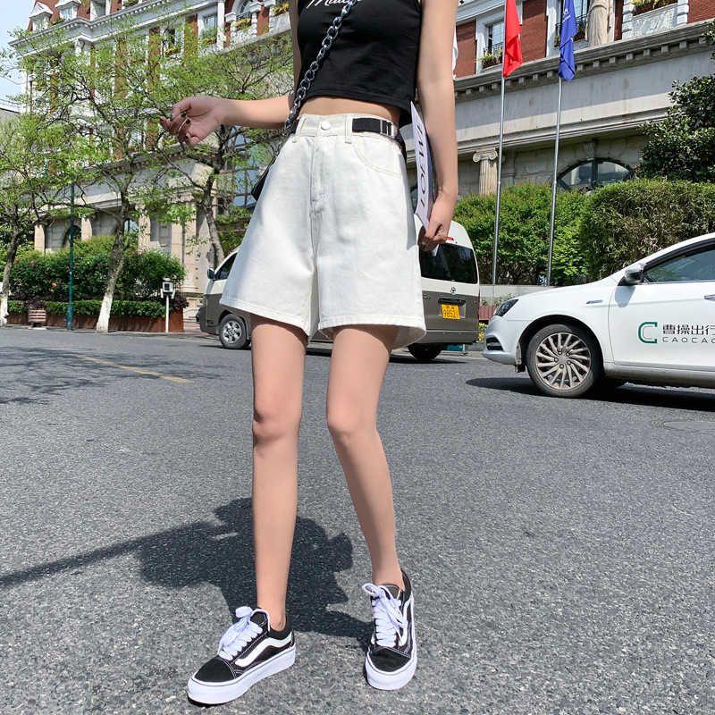 Pantalones cortos Jeans de verano sueltos de las mujeres 2021 Moda delgada de la cintura ultra alta A-Line Pantalones versátiles