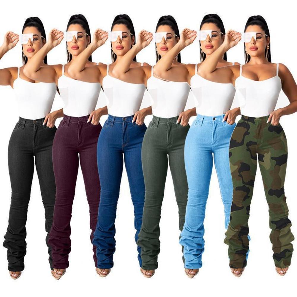 Taille haute jeans femmes empilées jeans leggings étirement pantalon de cargaison drapé décontracté pantalon général Pantalon global Nightclub Wholesale Dropping