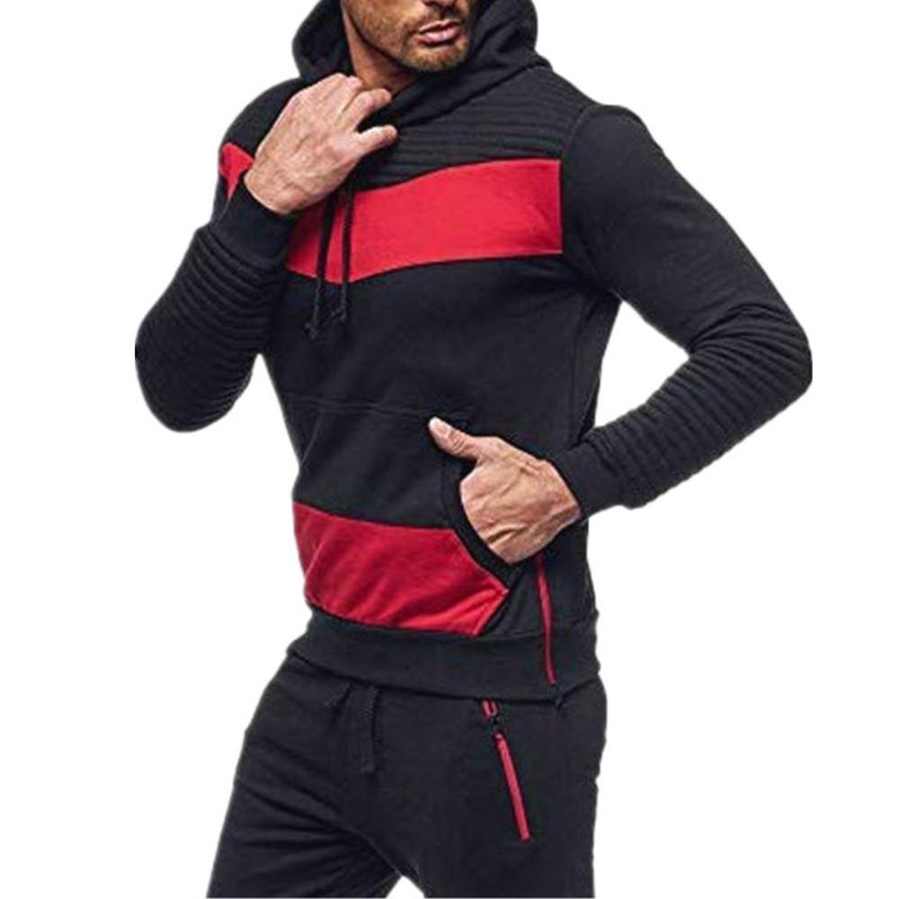 Chándalsuits otoño e invierno ocio color coincidencia de forma fitness suéter hoodie masculino