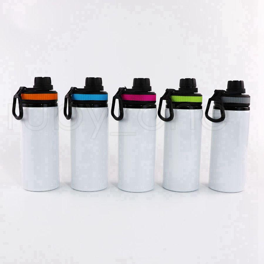 Sublimation Aluminiumrohstoffe Wasserflaschen 600ml Hitzebeständige Wasserkocher Tumbles Sport Weiße Abdeckungsbecher mit Griff Meerversand RRC6848