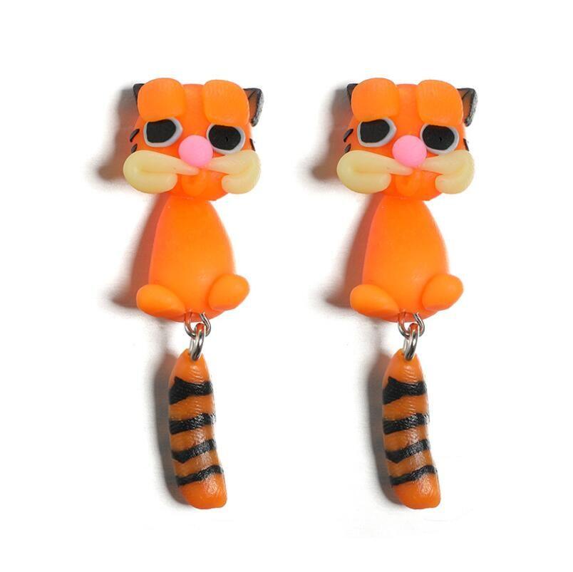 Brincos de animal de estimação bonito fox desenhos animados cão polímero polímero garanhão de argila brinco para mulheres artesanais meninas jóias