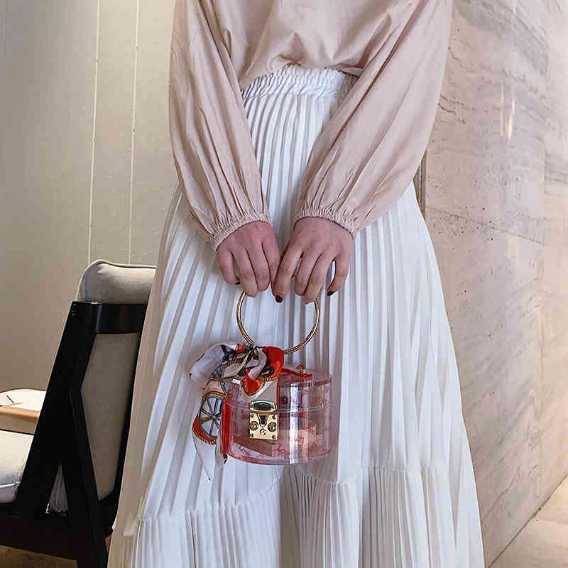 PVC Transparent Acrylic Box Women Clutch Shoulder Messenger Chain Evening Bag Ladies Square Package Clear Plastic Handbags Bags C0326