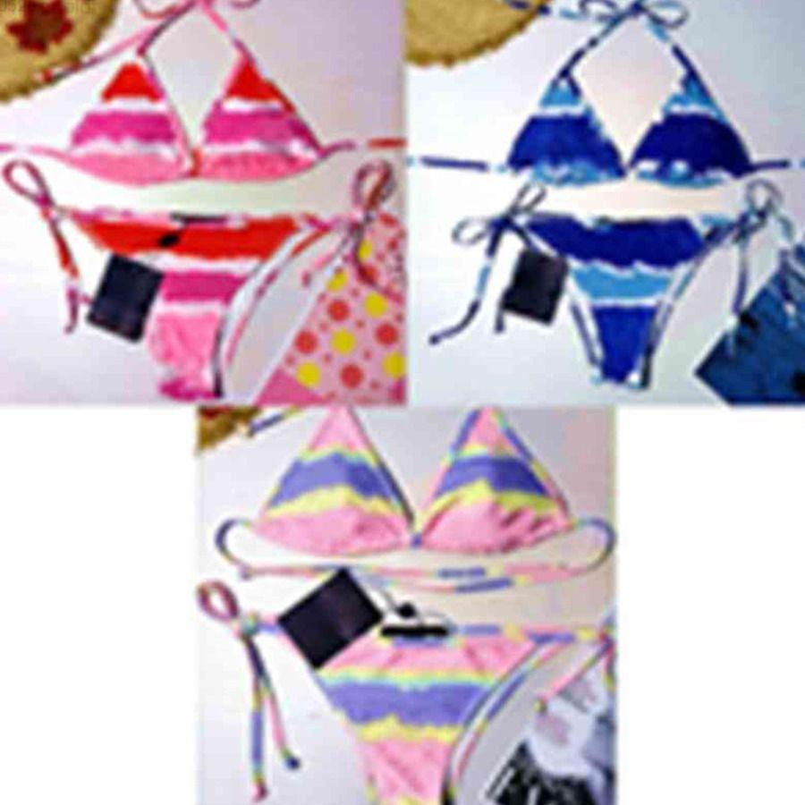 20SS Moda Mistura Mulheres Swimsuit Bikini Set Multicolor Tempo de Verão Praia Ternos De Banho De Vento Swimwear de Alta Qualidade Senhoras Backless Split Swimsuits