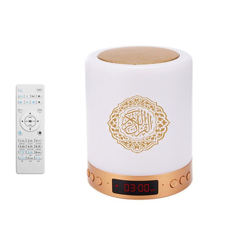 SQ-525 16 색 터치 스위치 Quran 스피커 램프 무선 MP3 플레이어 라디오 디지털 LED Azan 시계 야간 조명 플래시 헤드