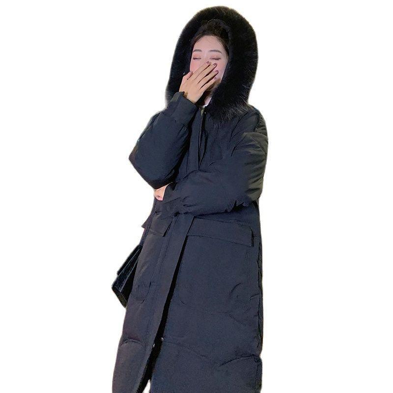 Kadın Aşağı Parkas Kadınlar Kış Pamuk-Yastıklı Ceket Kore Stye Büyük Kürk Yaka Kapşonlu Uzun Pamuk Sıcak Gevşek Giyim Ceket