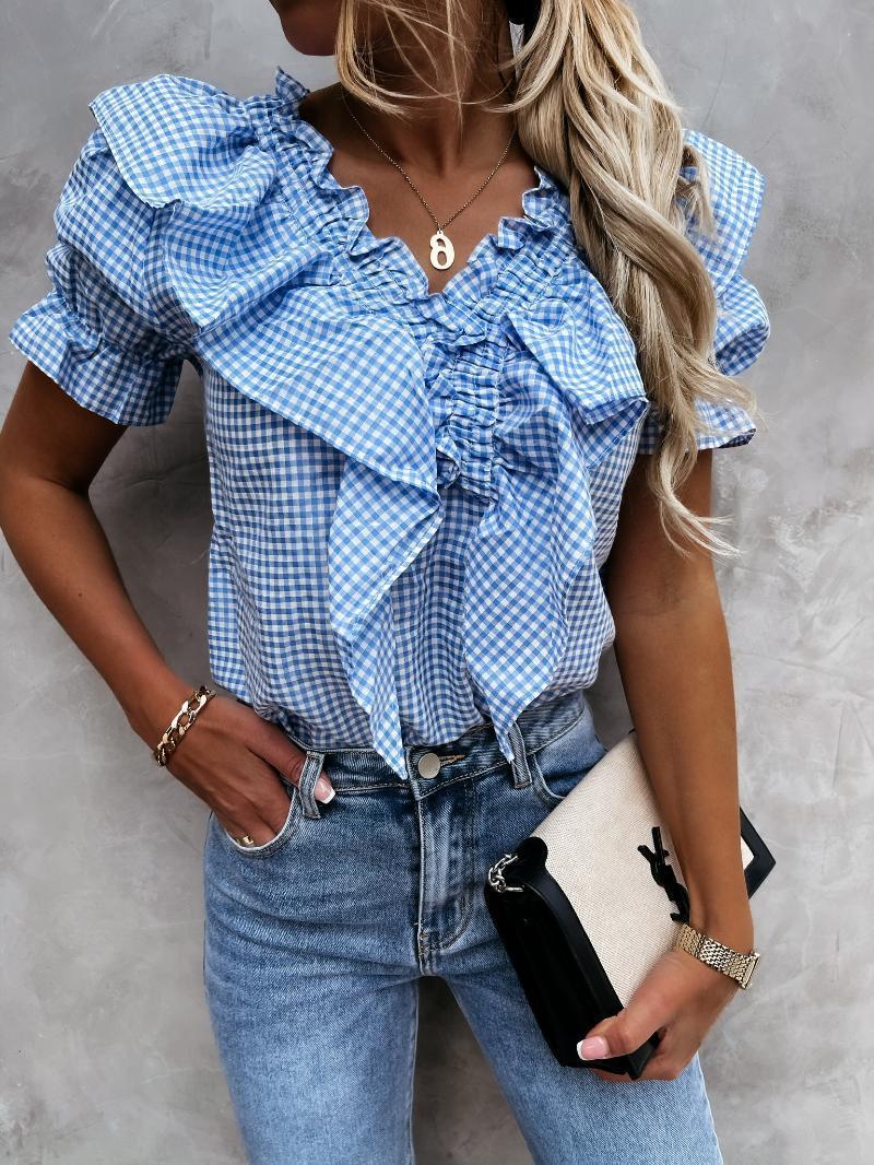 Women's Blouses & Shirts Ruffled V-neck Plaid Blouse Puff Short Sleeve Femlae Irregular Folds 2021 Summer Lady Sweet Fashion Tops