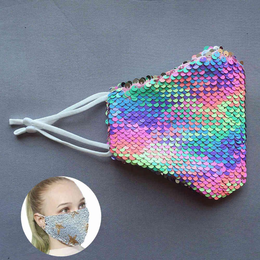 Cara reutilizable mufla protectora lentejuela arco iris boca a prueba de polvo a prueba de polvo gradiente adulto degradado colorido mascarillas