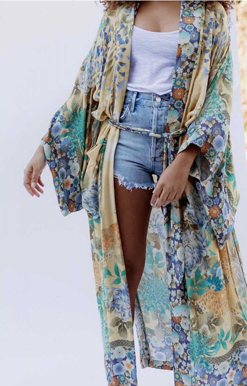Super Mulheres Blusas Chic Verão Vintage Blusa Cardigan Floral Impressão Long Kimono Sashes Split Solta Beach Femme Blusas