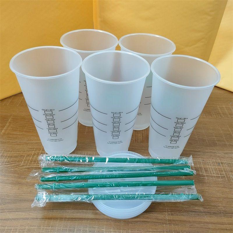 Starbucks 24oz / 710 ملليلتر أكواب بهلوان البلاستيك قابلة لإعادة الاستخدام شرب شرب مسطحة أسفل كأس عمود شكل غطاء القش بارديان 50 قطع