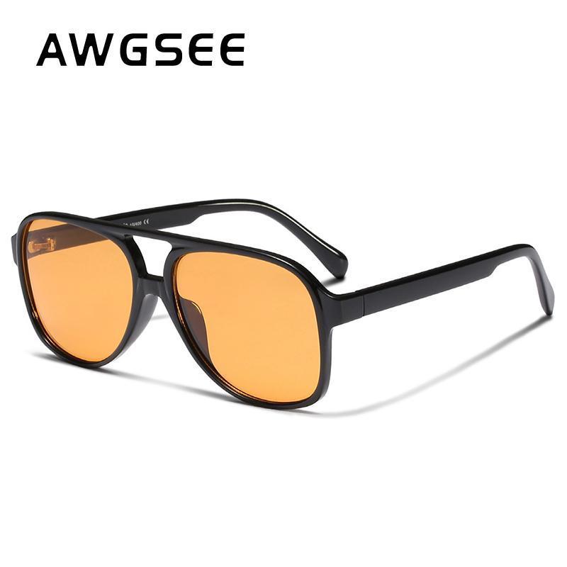 Sunglasses Awgsee Classic Vintage Vintage Pilote Pour Femmes Hommes Grand Cadre carré Rétro 70s Luxe Uv400