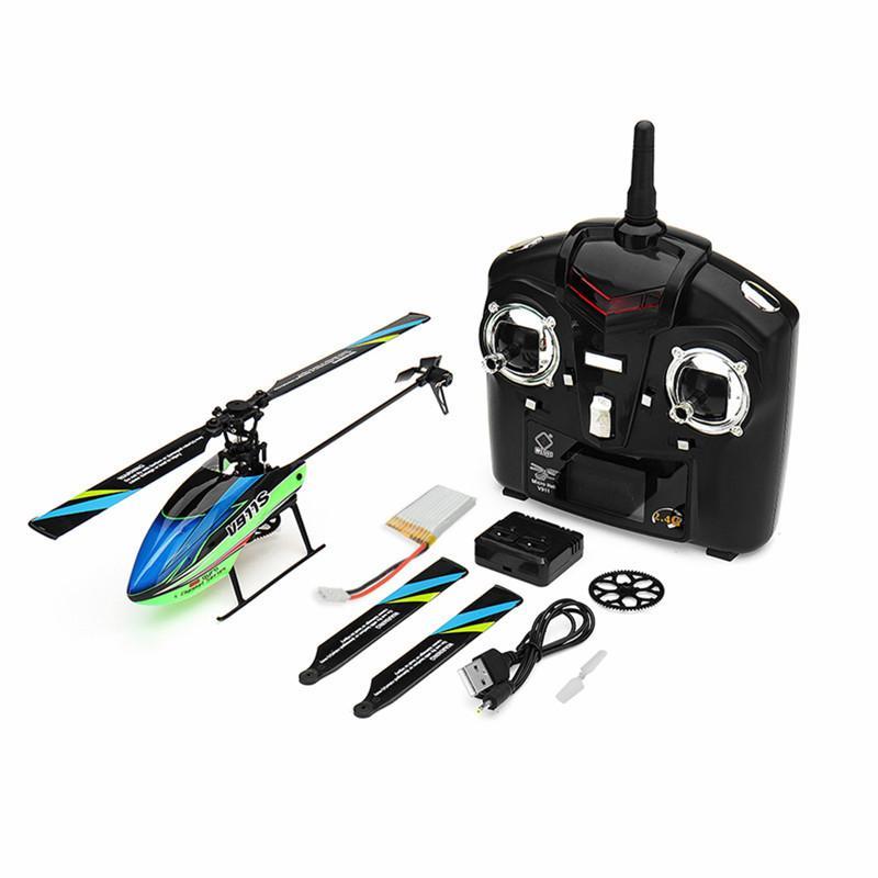 WLTOYS V911S 2.4G 4CH 6-AIXS Jiroskop Flybarless RC Helikopter RTF Model Oyuncaklar W / 3 ADET 3.7 V 250mah Lipo Pil 210325