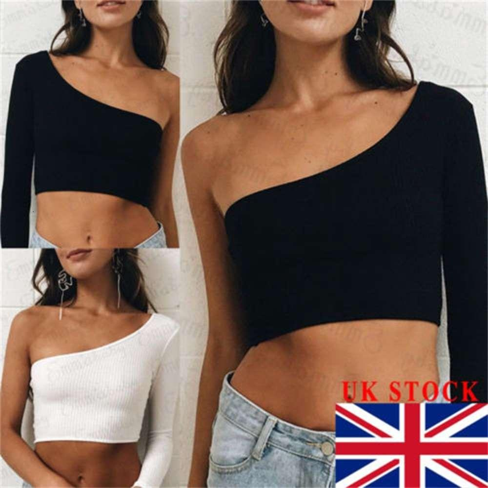 Femmes sexy chaudes une épaule culture tops coton manches longues tee shirt mince tops clubwear neuf
