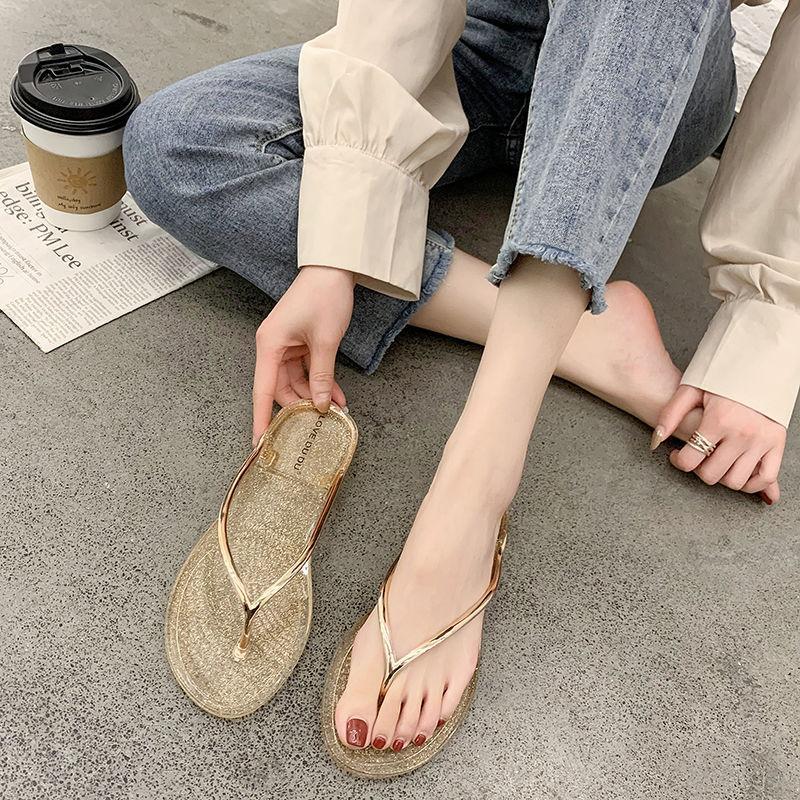 Mujeres Flip Slippers Sliplers Sling Bling Rhinestone Señoras Zapatos Casual Verano Flat Female Crystal Glitter Mujer más Tamaño