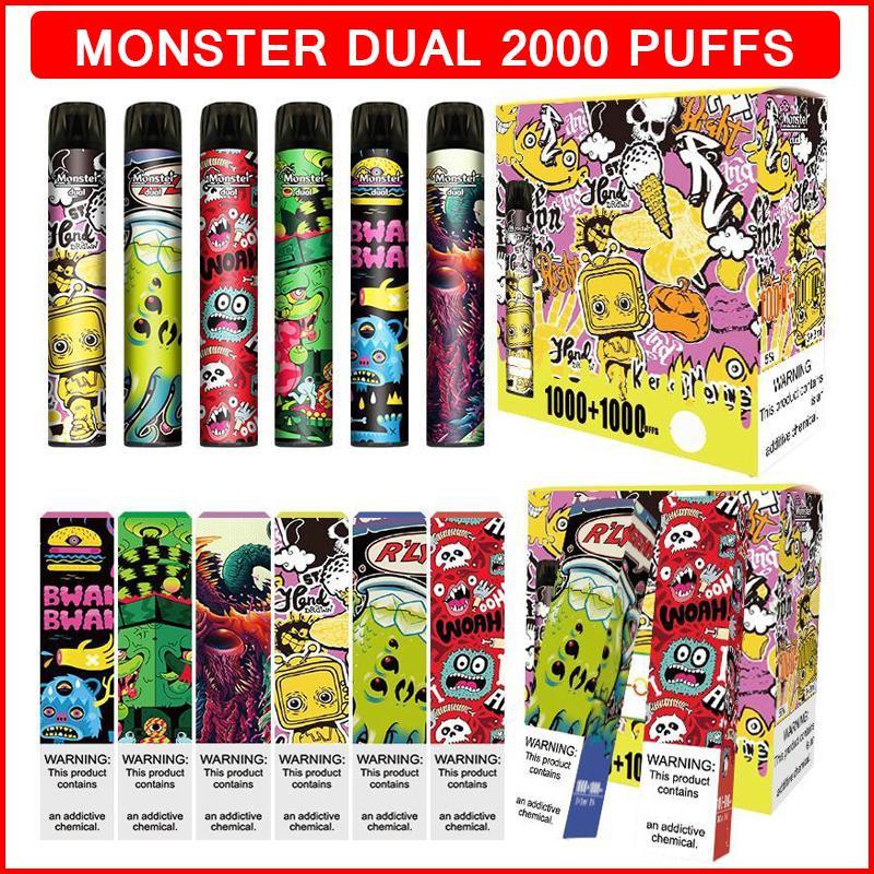 몬스터 듀얼 SWTICH 2000 퍼프 일회용 담배 2in1 vape 포드 장치 6.0ml 사전 충전 된 vapes 스틱 기화기