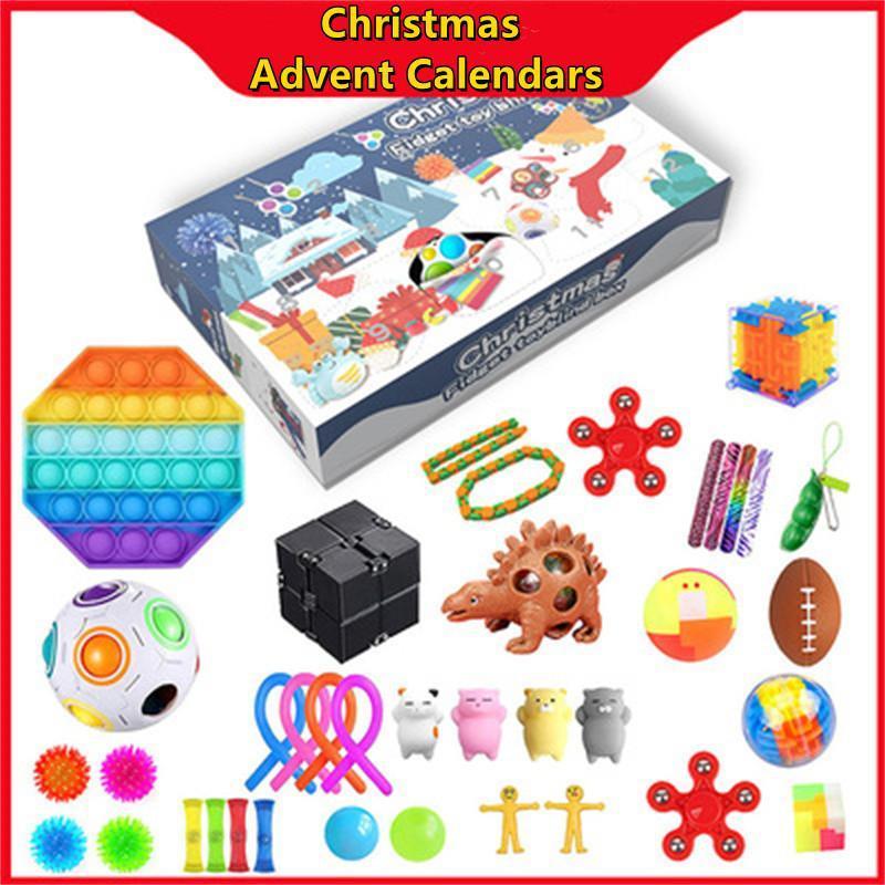 Dhl tiktok alla moda natale avvenimento sensoriale sensoriale calendari fidget giocattoli box box regalo xmas per bambini bambini spingere bolla bolla autismo stress rilievo anti ansia fy