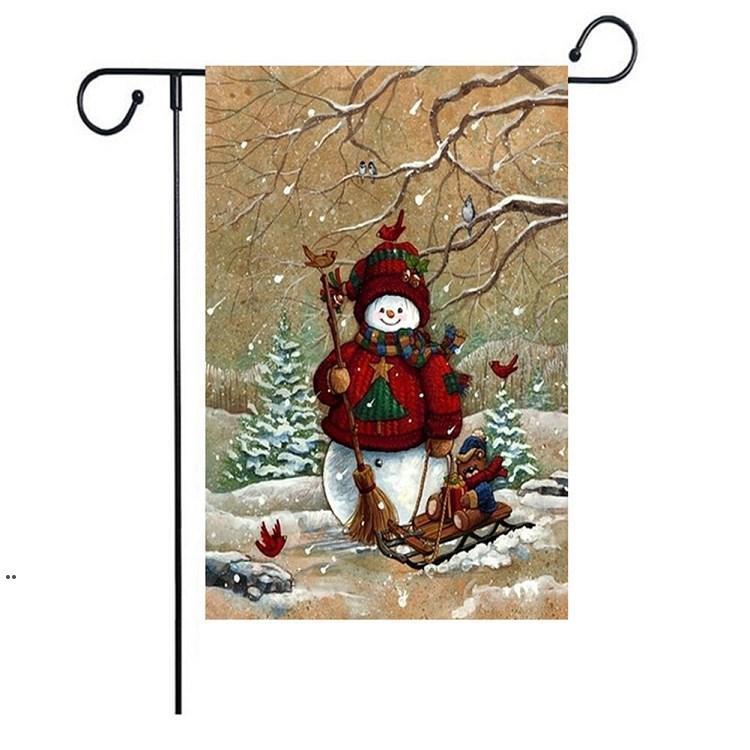 새로운 크리스마스 플래그 시리즈 패턴 크리스마스 눈사람 정원 플래그 배너 플래그 47 * 32cm 크리스마스 파티 용품 ZZD8865