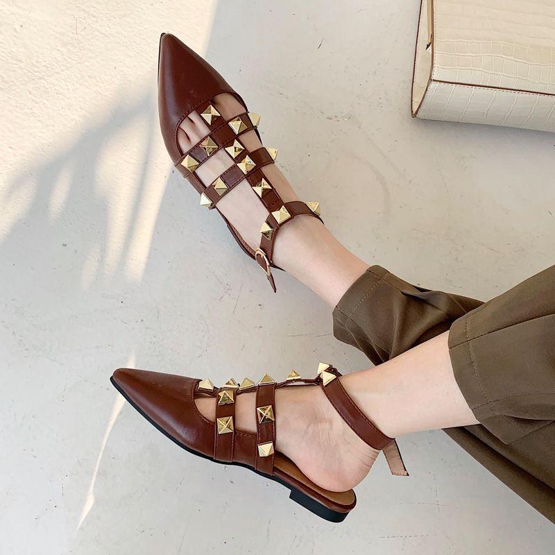 2021 Sandali Donne Sandali appuntiti Sandali da donna Sandali Slippers Fashion Flat Slides Slides Causal Scarpe Femmina Femmina Femminile Causal Tacchi Sandali Ghj76Ulpp655