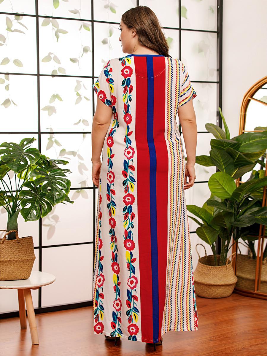 여성을위한 편안한 Viscose 인쇄 플러스 사이즈 드레스 여름 V 넥 짧은 소매 맥시 롱 드레스 캐주얼 아랍 의류