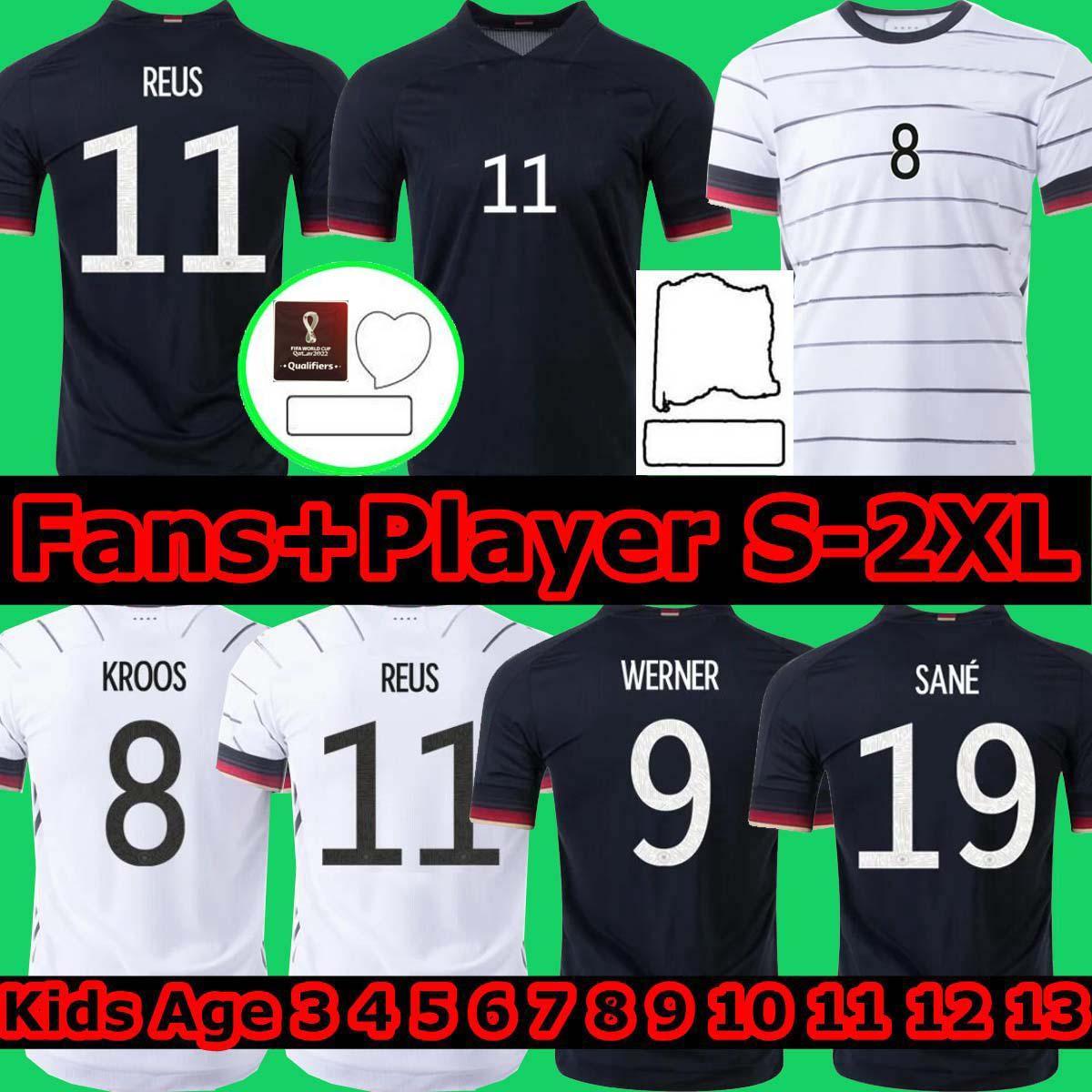 Fanlar + Oyuncu Sürüm Almanya 2020 Futbol Forması Tah Ev Uzakta Kiti Hummels Kroos Draxler Reus Muller Gotze See Avrupa Kupası Futbol Gömlek Üniformalar Erkekler + Çocuklar Kiti