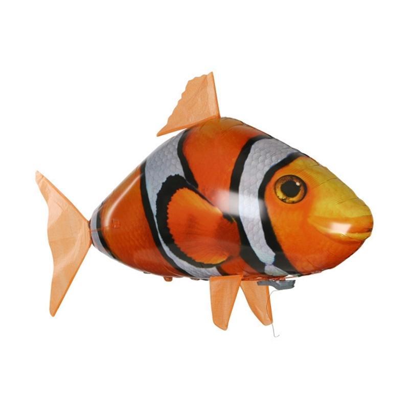 Creative Remoto Controle Flying Fish Tubarão Clownfish Ar Livro Inflável Flying Festa Decoração RC Animal Brinquedo 210326