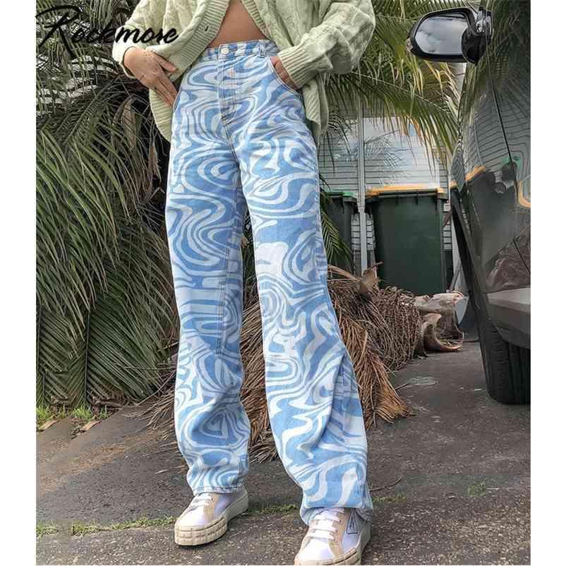 Rockmore Zebra padrão cintura alta mulheres jeans 90s calças streetwear calças folgágicas pants de pernas y2k mãe namorado calças denim capris 210322