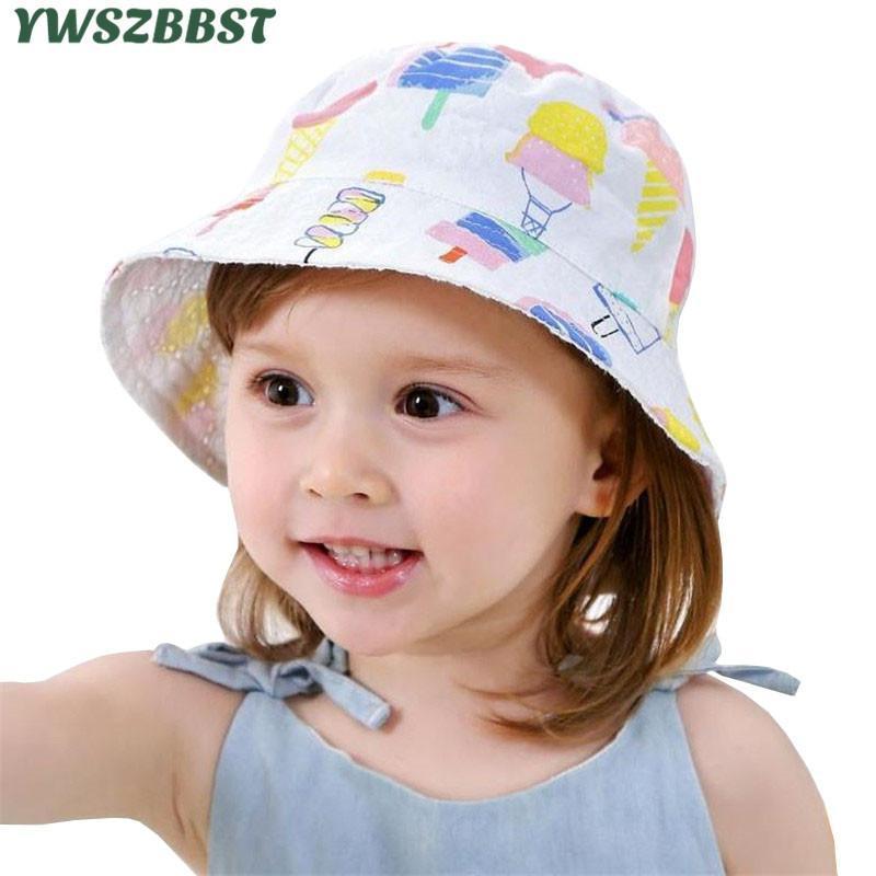 Шапки шляпы мода ребенка с мороженым узор с двойной стороной носить девушки шляпа летом солнце осень детей для детей козырек