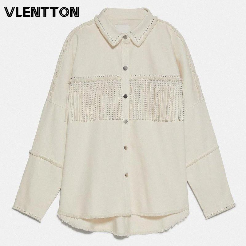 2020 2020 Spring Autumn Streetwear Rivet Tassel Womens Tops And Blouses Solid Long Sleeve Oversize Casual Loose Shirt Ladies Blusas V42C#