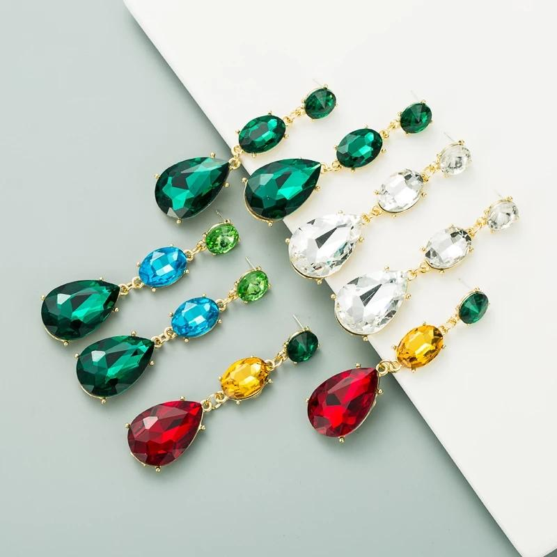 Nueva moda Multi Color Cristal Cuelga Pendientes para mujer Vintage Vintage Geométrico Agua Forma Gota Pendientes Joyería de fiesta