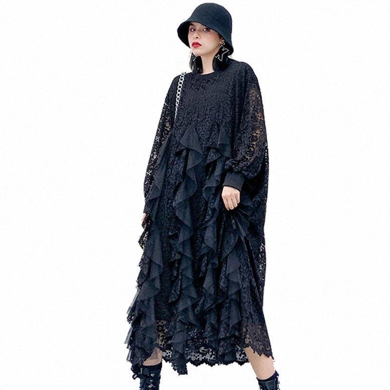 Qing Mo Siyah Beyaz Kadınlar Dantel Elbise 2020 Bahar Kadın Örgü Patchwork Elbise Kadın Artı Boyutu Slim ZQY3052 i7rz #
